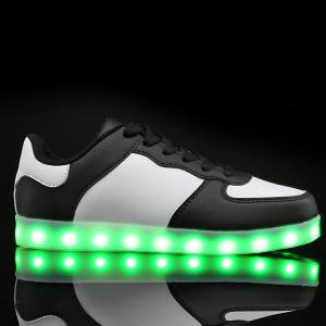 Led Luminous Lights Up Colour Splicing Casual Shoes - WHITE AND BLACK 43