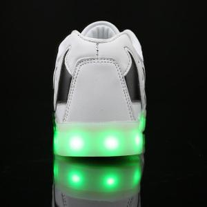 Lights Up Led Luminous Color Block Casual Shoes - WHITE 43