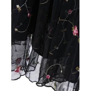 Floral Embroidered Gauze Maxi Wedding Guest Dress - BLACK XL