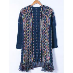 Colorful Geometrical Tassels Cardigan -