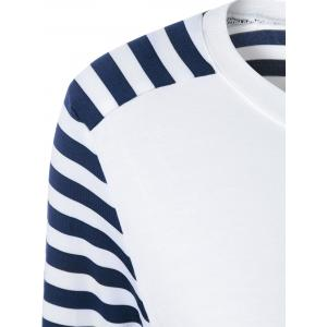 Striped Elbow Sleeve T-Shirt - BLUE/WHITE XL