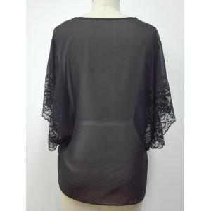 Lace Spliced Butterfly Sleeves Blouse - BLACK XL