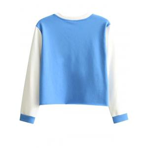 Patterned Raw Edge Sweatshirt - BLUE AND WHITE L