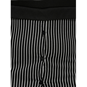 Spliced Striped Letter Print Mini Dress - BLACK 4XL