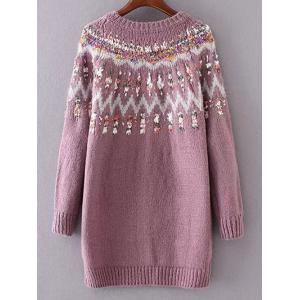 Jacquard Knit Long Sleeve Sweater -