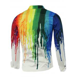 Colorful Paint Dripping Print Covered Button Front Long Sleeve Shirt - WHITE L