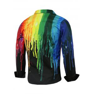 Colorful Paint Dripping Print Covered Button Front Long Sleeve Shirt - BLACK 2XL
