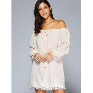 Off The Shoulder Patched Long Sleeve Cream Casual Dress - APRICOT XL