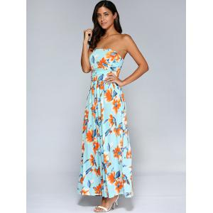 Long Strapless Ruched Floral Formal Maxi Dress -