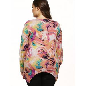 Long Sleeves Floral Knitted Asymmetrical Pullover -
