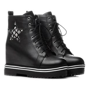Star Embroidered Lace Up Wedge Ankle Boots -