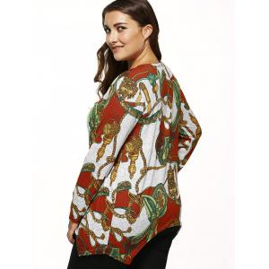 Long Sleeves Printed Knitted Asymmetrical Pullover - GRAY ONE SIZE