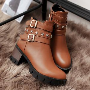 Metallic Buckle Ankle Boots -