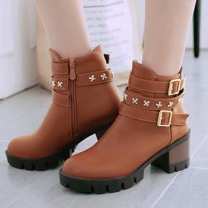 Metallic Buckle Ankle Boots - BROWN 43