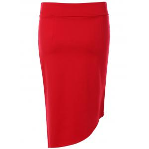 Elastic Waist Mini Asymmetric Sheath Skirt -