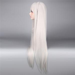 ReZero Emilia Extra Long Silky Straight With Braided Synthetic Cosplay Wig - SILVER WHITE