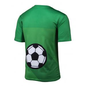 3D Brazil Figure and Football Print Short Sleeve T-Shirt - GREEN 4XL