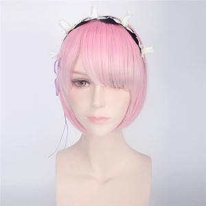 ReZero Ram Short Bob Style Synthetic Straight Ombre Color Cosplay Wig - PINK