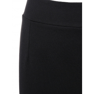 Elastic Waist Mini Slit Sheath Skirt -