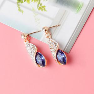 Rhinestoned Faux Crystal Oval Drop Earrings -