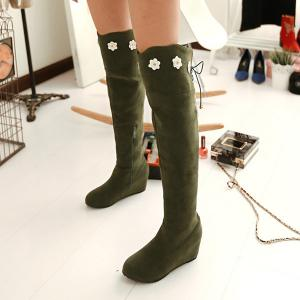 Flower Embellished Lace Up Knee Length Boots -