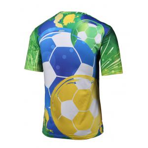Round Neck 3D Football and Firework Print Short Sleeve T-Shirt - COLORMIX 4XL