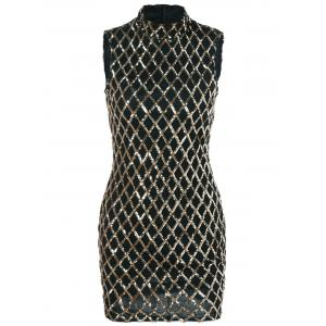Sequined Rhombus Pattern Dress -