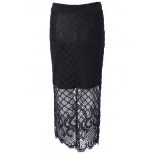 Lace Spliced Crochet Midi Skirt -
