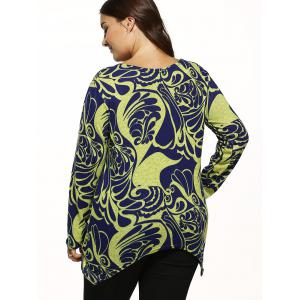Paisley Knitted Asymmetrical Pullover - YELLOW ONE SIZE