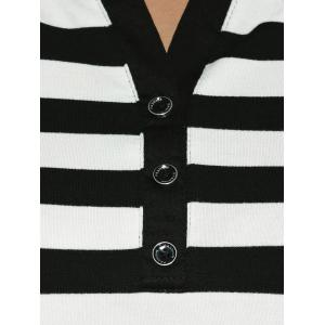 Slimming Striped Buttoned T-Shirt -