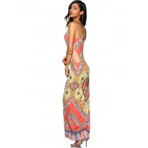 Criss Cross Cut Out Maxi Printed Dress - COLORMIX XL