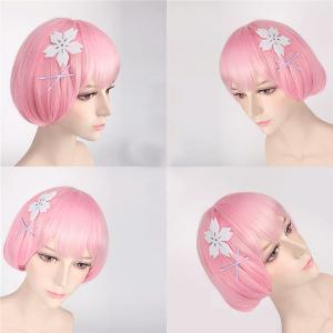 ReZero Ram Young Style Ombre Color Straight Bob Hairstyle Cosplay Wig -