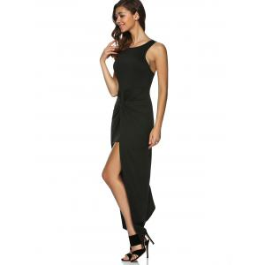 Asymmetric Zip Knotted Long Night Out Dress -