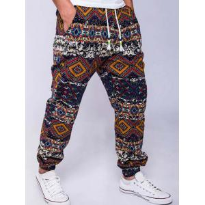 Ethnic Style Geometric Print Linen Drawstring Jogger Pants - RED 2XL