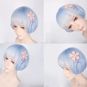 ReZero Rem Young Style Short Ombre Color Synthetic Bob Hairstyle Cosplay Wig -