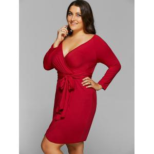 Plus Size Lace-Up Jersey Knit Wrap Dress With Long Sleeves - CLARET 6XL