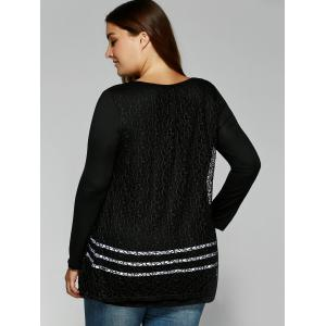Layered Openwork Lace Spliced Blouse -