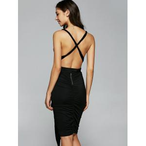 Plunging Neck Open Back Ruched Dress -