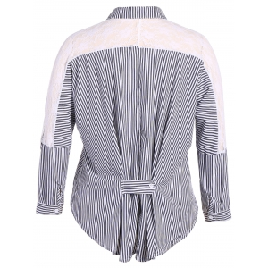 Shirt Neck Plus Size Stripe Lace Spliced Shirt -