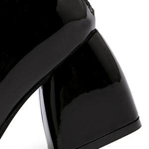 Patent Leather Square Toe Ankle Boots - BLACK 39
