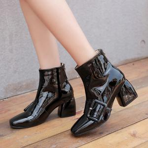 Patent Leather Square Toe Ankle Boots -