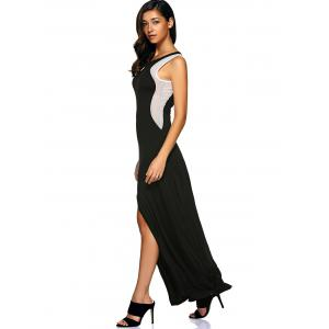 Mesh Insert Slit Zip Long Sleeveless Formal Dress - BLACK L