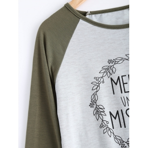 Garland Letter Print Raglan T-Shirt - LIGHT GRAY S