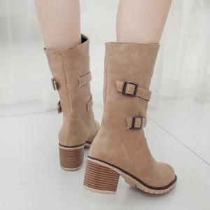 Buckle Chunky Heel Middle Boots -