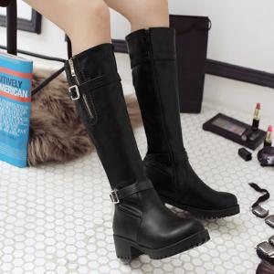 Side Zipper Buckle Leather Knee Length Boots -