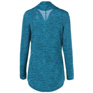Zipper Up Heathered Blouse - SAPPHIRE BLUE M