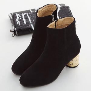 Suede Zipper Square Toe Ankle Boots - BLACK 39