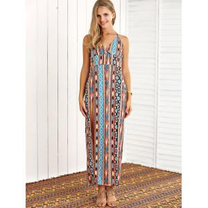 Boho Halter Tribal Print High Slit Maxi Dress - COLORMIX L