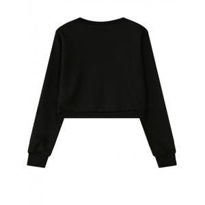 Round Neck Abstract Print Cropped Sweatshirt -