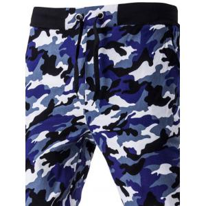 Camoflage Pattern Drawstring Beam Feet Jogger Pants - NAVY BLUE 2XL